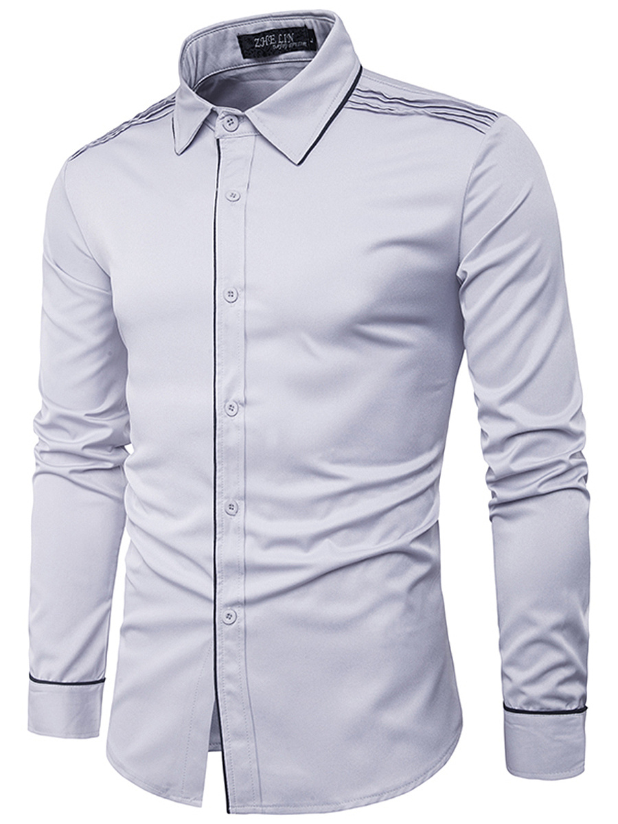 Turn Down Collar  Contrast Trim Men Shirts