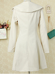 Asymmetric Neck  Decorative Button  Plain  Long Sleeve Coats