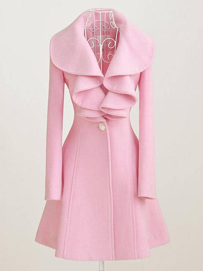 Image of Fashionmia Asymmetric Neck Decorative Button Plain Long Sleeve Coats