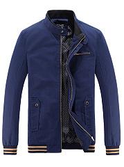 Band-Collar-Flap-Pocket-Striped-Men-Jacket