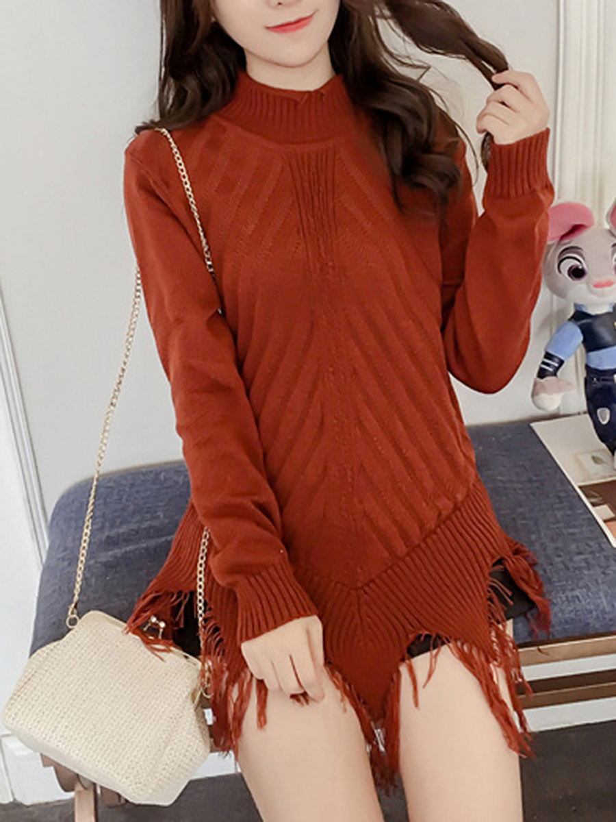 High Neck Fringe Plain Pullover