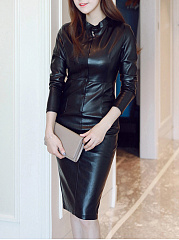 Band Collar Plain Slit Faux Leather Bodycon Dress