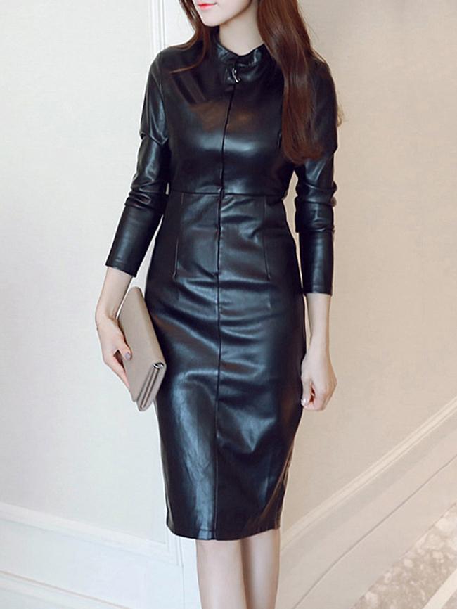Image of Fashionmia Band Collar Plain Slit Faux Leather Bodycon Dress