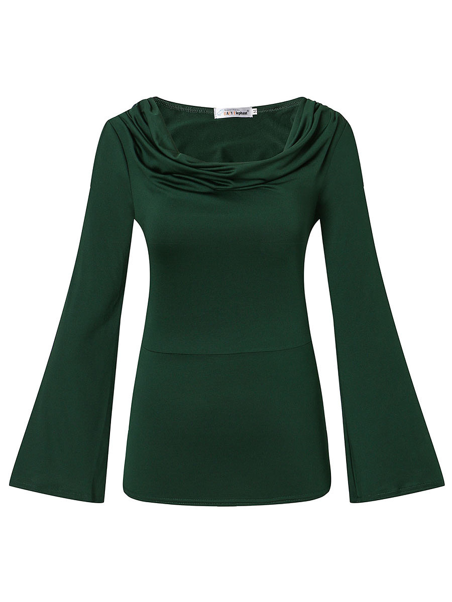 Open Shoulder Plain Ruched Bell Sleeve T-Shirt
