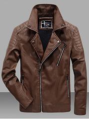 Men-Lapel-Fleece-Lined-Zips-Pocket-PU-Leather-Plain-Jacket