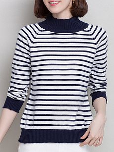 High Neck  Patchwork  Stripes Pullover