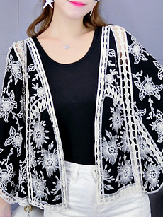 Embroidered  Floral Cardigans