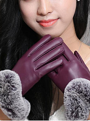 Warm Elegance Fur Decorative Leather Gloves
