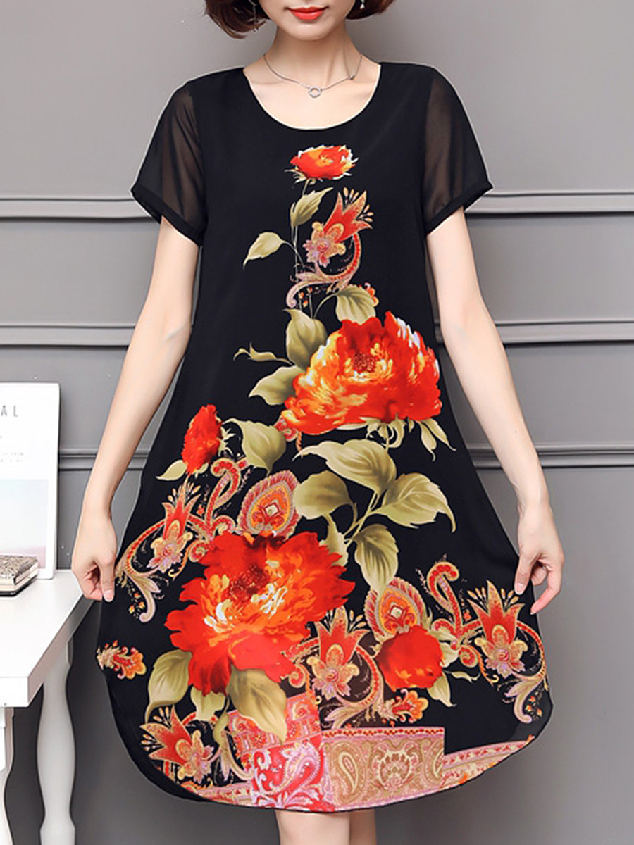 Round Neck Curved Hem Floral Printed Chiffon Shift Dress
