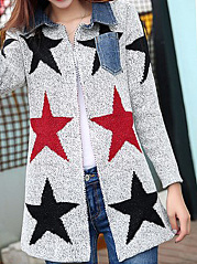 Turn Down Collar  Patchwork  Star  Long Sleeve Cardigans