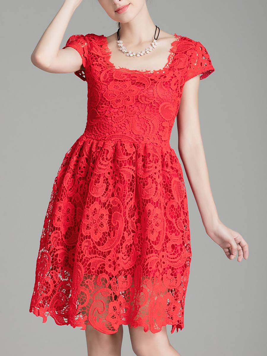 Square Neck Solid Lace Hollow Out Skater Dress