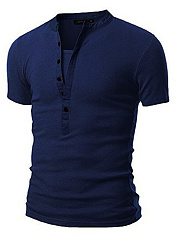 Fitted Split Neck Men T-Shirt