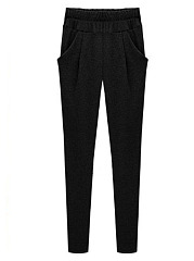 Solid Pocket Elastic Waist Casual Pegged Pants