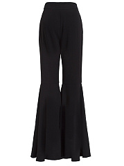 Solid Flared Casual Pants In Black