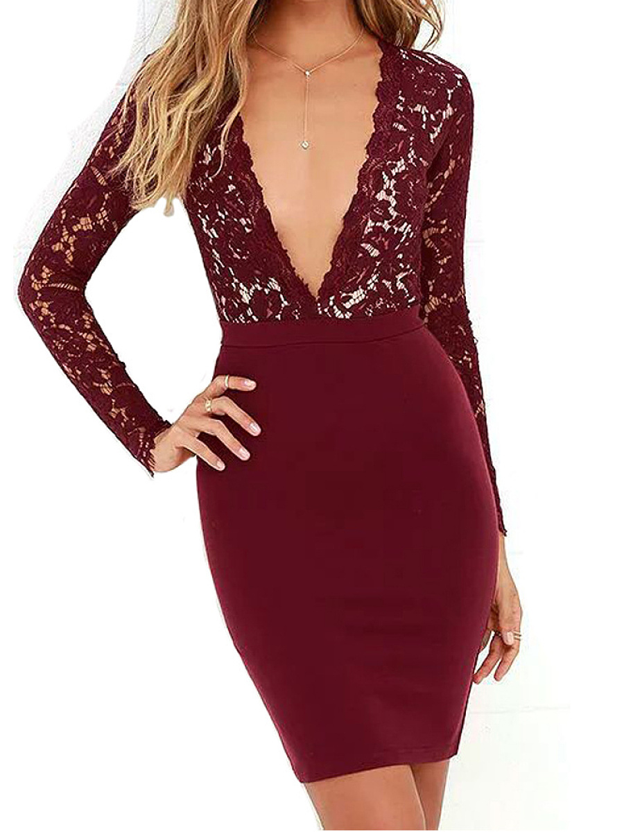 Deep V-Neck  Lace Bodycon Dress