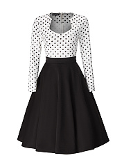 Polka Dot Color Block Skater Dress
