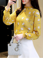 Band Collar  Decorative Lace  Floral  Puff Sleeve Blouses