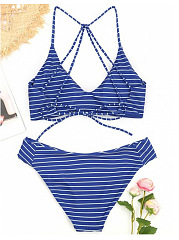 Striped  High-Rise Bikini