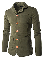 Lapel Patch Pocket Men Coat With Contrast Single Breasted