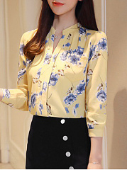 Autumn Spring Summer  Polyester  Women  V-Neck  Decorative Button  Floral Printed  Long Sleeve Blouses