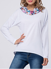 Stylish Slit Pocket  Floral Hoodie