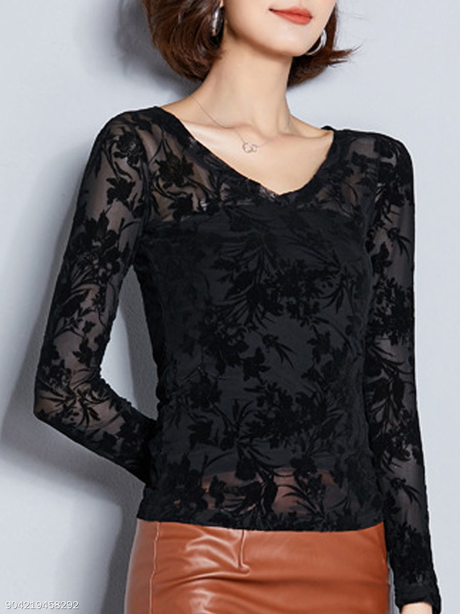 Autumn Spring  Women  See-Through  Floral Plain Long Sleeve T-Shirts