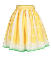 Elastic-Waist-Lemon-Printed-Flared-Midi-Skirt
