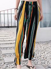 Drawstring-Pocket-Vertical-Striped-Casual-Pant