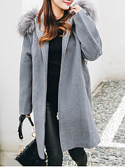 Loose Longline Hooded Pocket Plain Woolen Coat