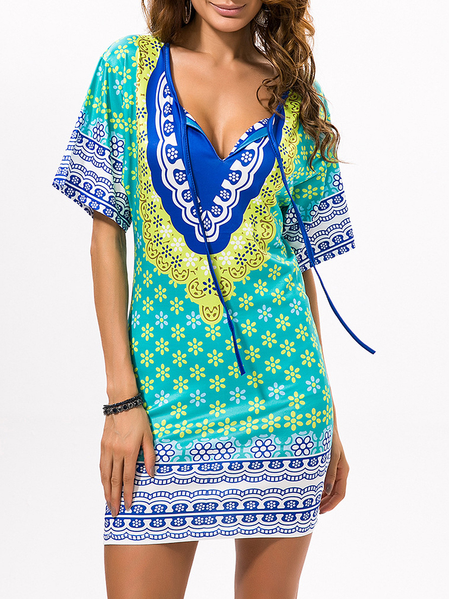 Fabulous Split Neck Tribal Printed Shift Dress