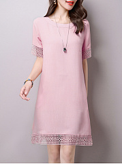 Round Neck Basic Fashion  Plain Shift Dress