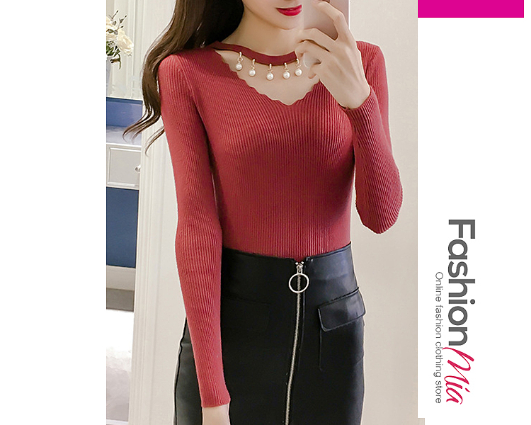 Asymmetric Neck  Beading  Plain  Long Sleeve Sweaters Pullover