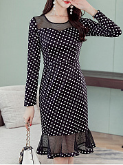 Round Neck  Polka Dot Bodycon Dress