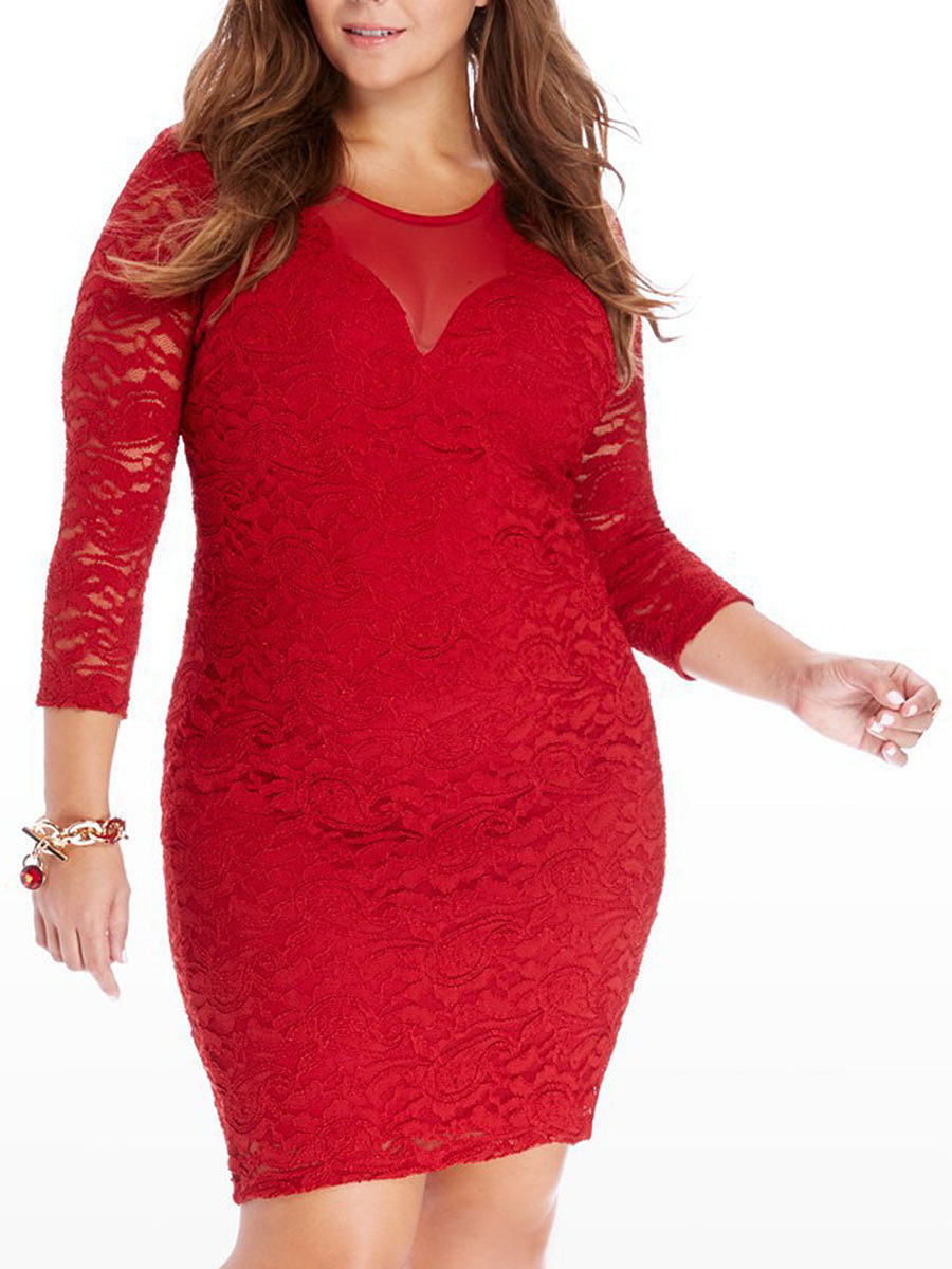 Round Neck  Backless Decorative Lace  Lace Plus Size Bodycon Dress