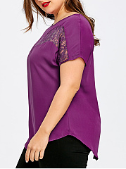 Round Neck  Plain  Short Sleeve Plus Size T-Shirts