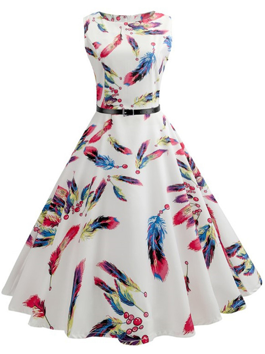 Multi-Color Feather Printed Belt Midi Skater Dress