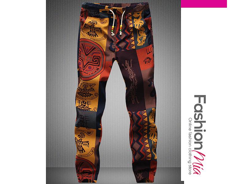 Drawstring Elastic Waist Slit Pocket  Tribal Printed  Straight  Mid-Rise Mens Casual Pants