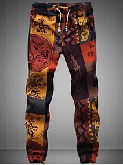 Drawstring Elastic Waist Slit Pocket  Tribal Printed  Straight  Mid-Rise Men's Casual Pants
