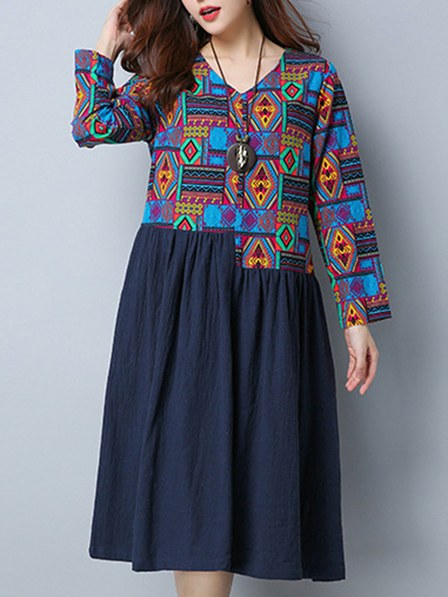 V-Neck  Patchwork  Tribal Printed  Cotton/Linen Skater Dress