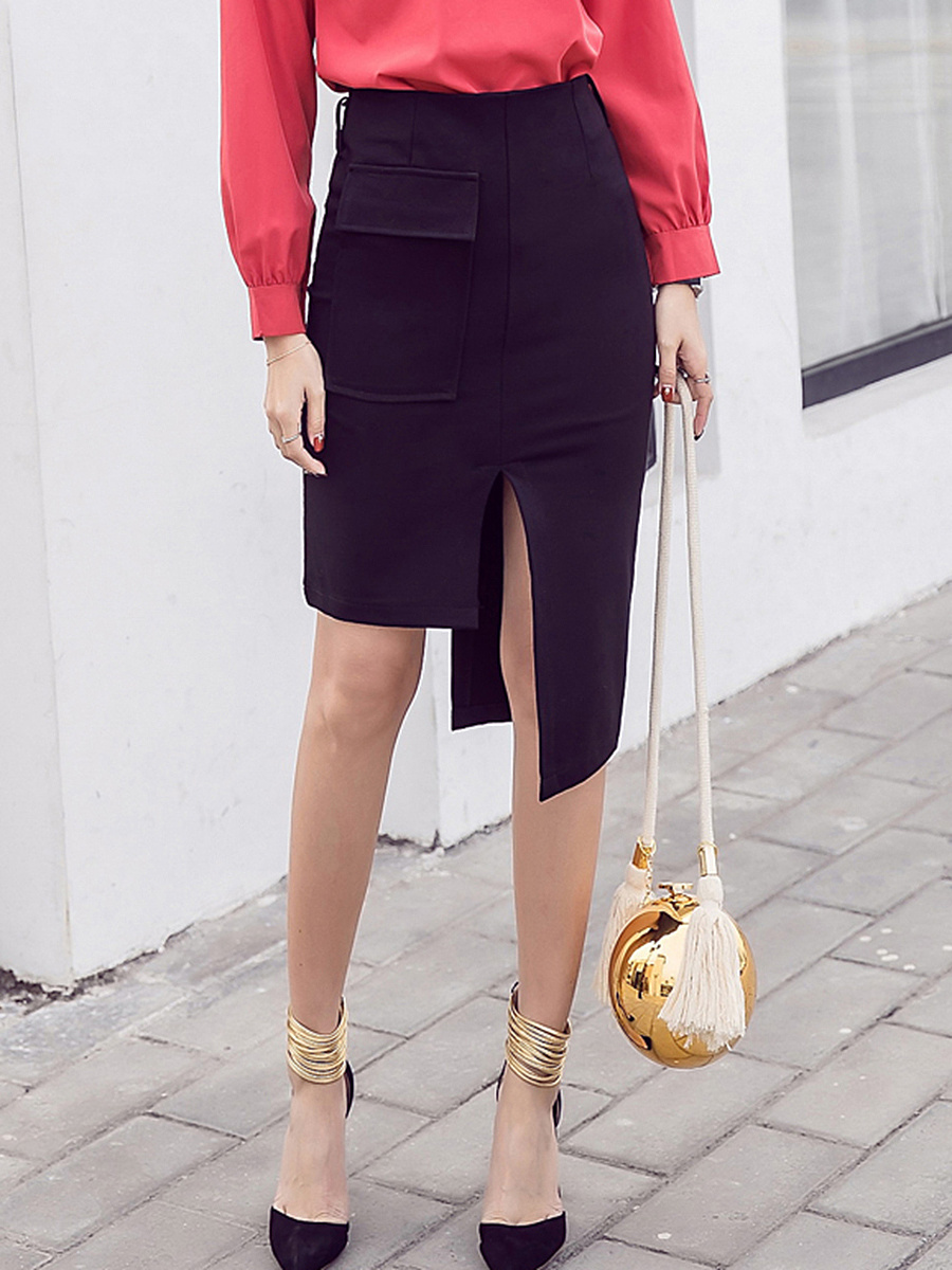Asymmetric Hem Flap Pocket Pencil Stylish Midi Skirt