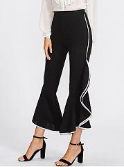 Contrast-Trim-Flounce-Pocket-Flared-Casual-Pants