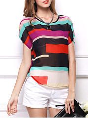 Summer  Chiffon  Women  Round Neck  Color Block Striped  Extra Short Blouses