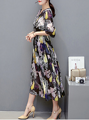 Summer Chiffon Hollow Out Printed Maxi Dress