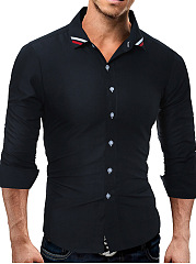 Striped Turn Down Collar Men Shirts