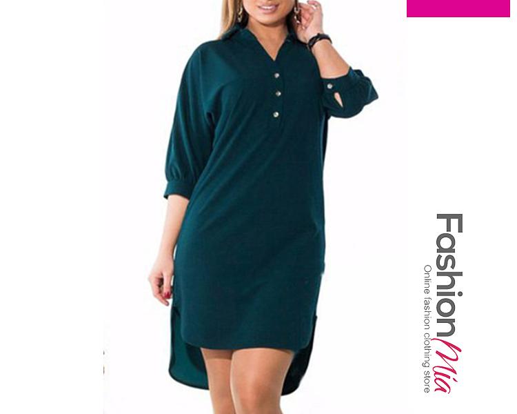 Turn Down Collar  Slit  Plain Plus Size Bodycon Dresses