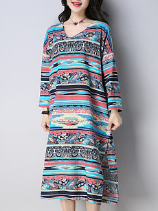 V-Neck  Printed  CottonLinen Shift Dress