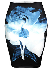 Slit-Color-Block-Printed-Pencil-Midi-Skirt