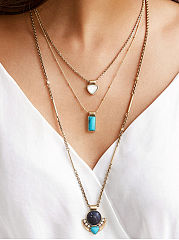 Three Layers Stone Pendant Necklace