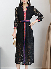 V-Neck  Contrast Trim  Lace Maxi Dress