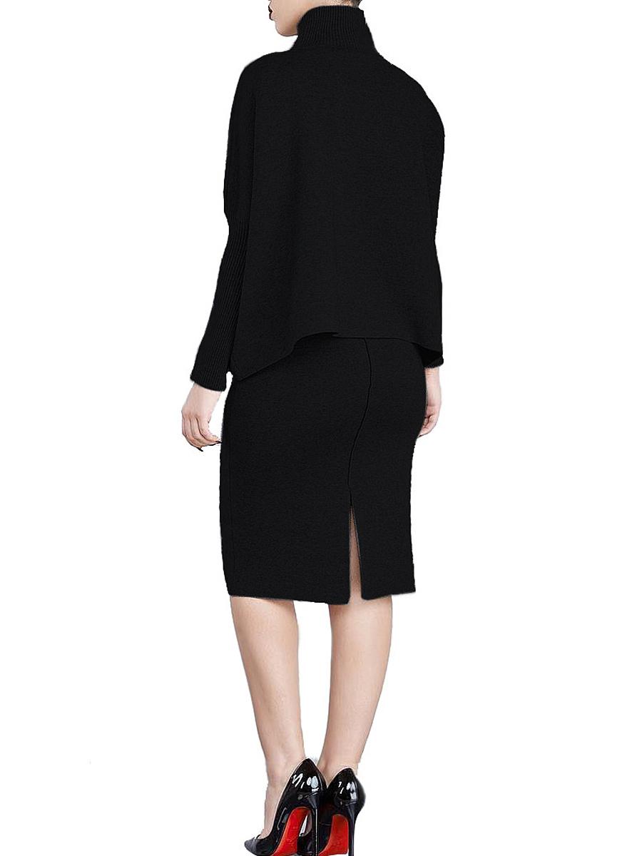 Band Collar  Plain  Blend Bodycon Dress
